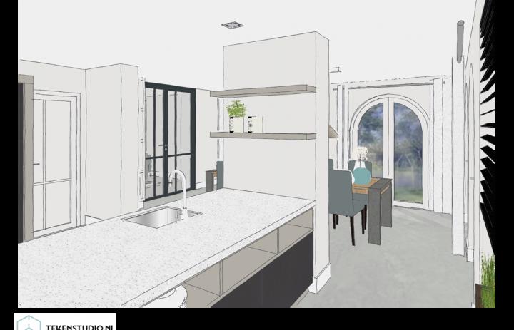 Ontwerp eetkamer-keuken 1