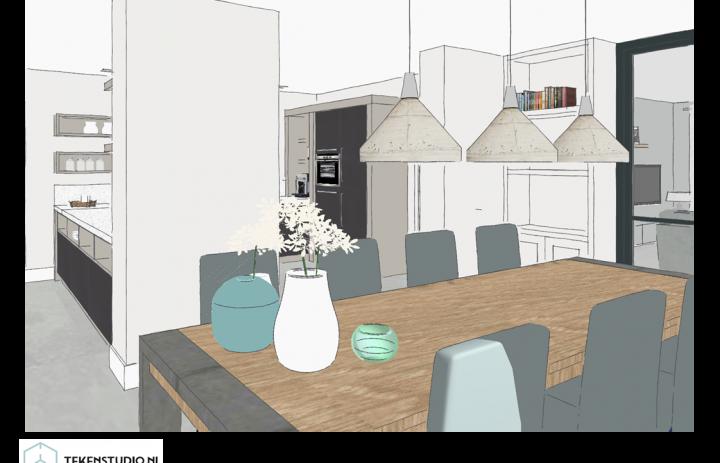 Ontwerp eetkamer-keuken 3