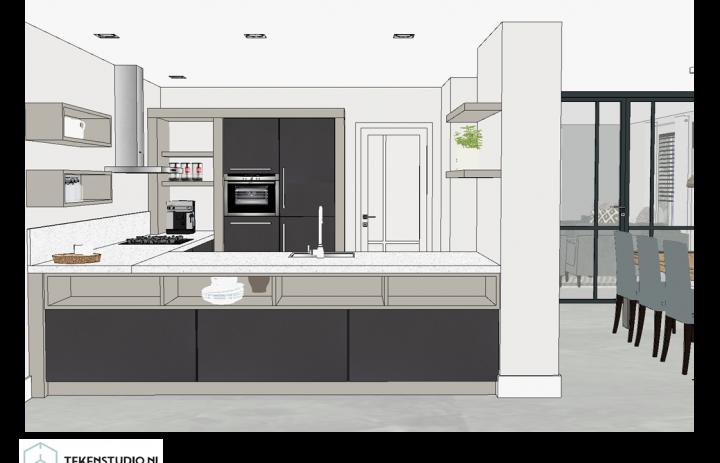 Ontwerp eetkamer-keuken 5
