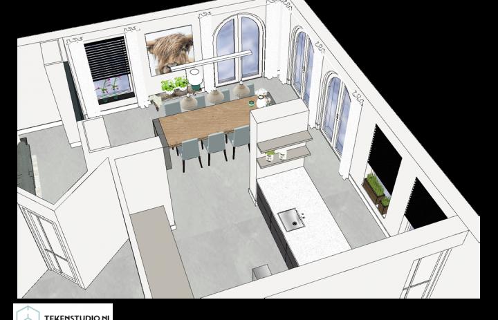 Ontwerp eetkamer-keuken 6