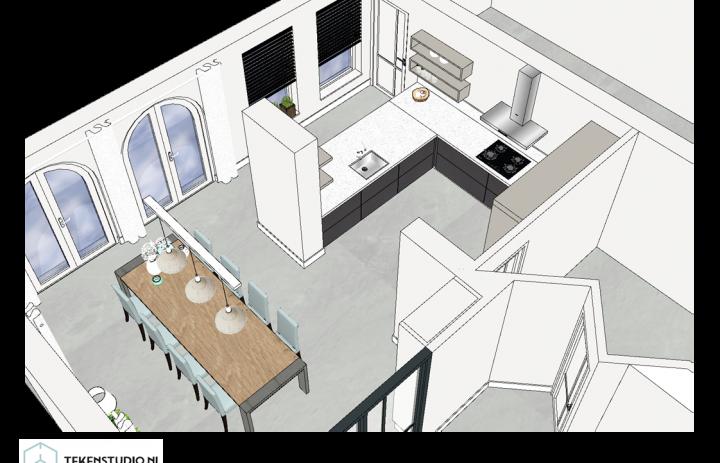 Ontwerp eetkamer-keuken 7